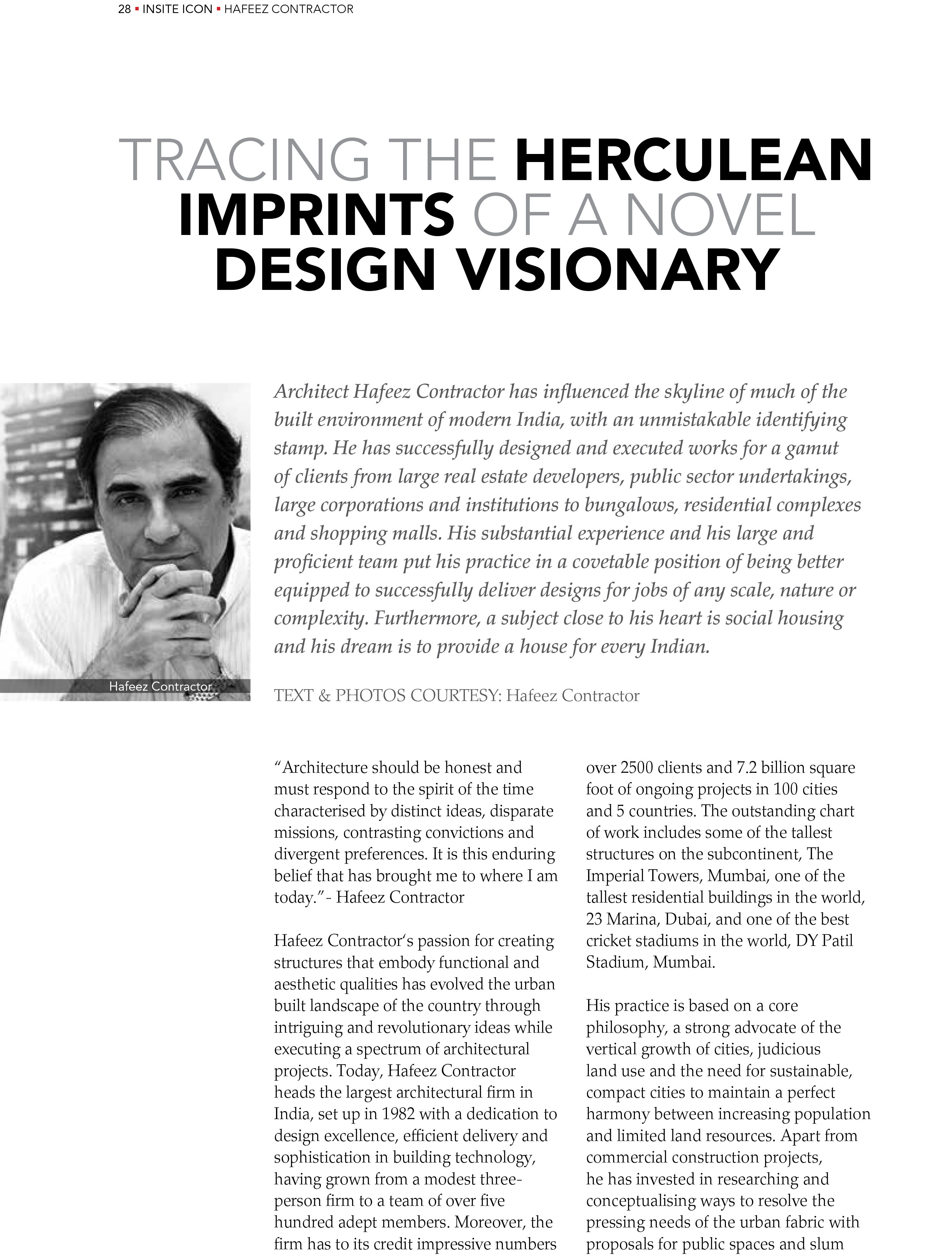 Architect Hafeez Contractor - Award Winning, Indias Largest and one
